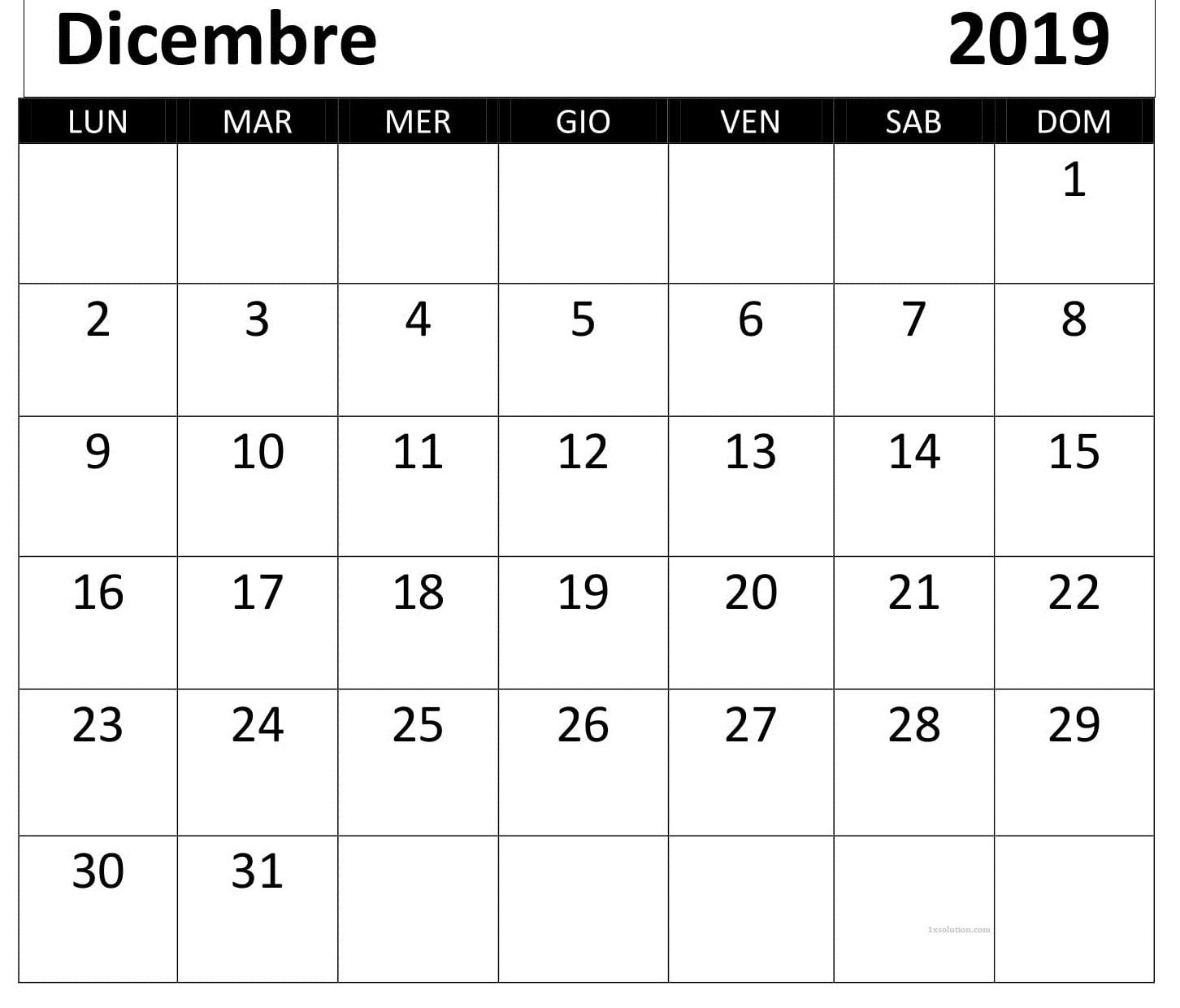 Calendario Dicembre 2019 Da Stampare Grande