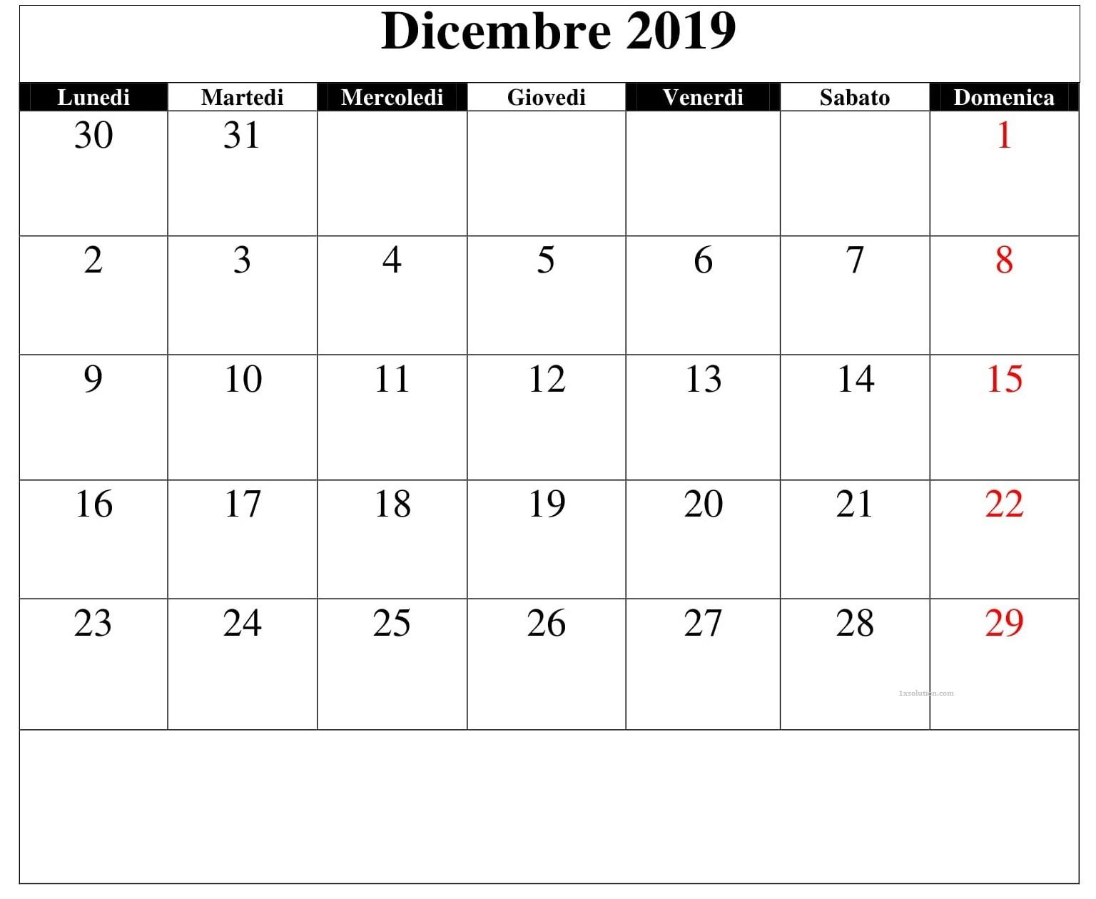 Calendario Dicembre 2019 Da Stampare