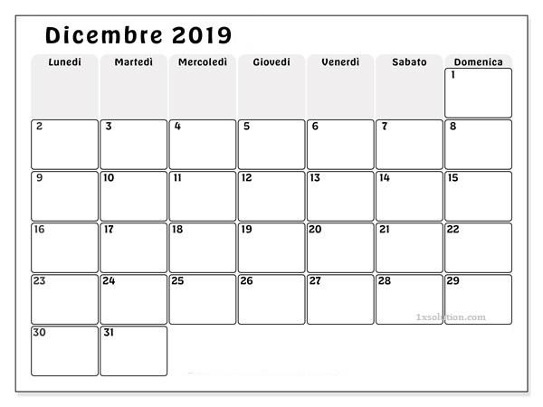 Calendario Dicembre 2019 PDF Mensile