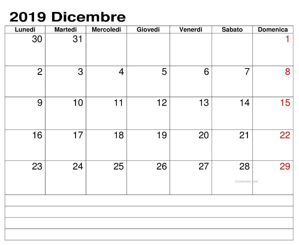 Calendario Dicembre 2019 PDF Professionale