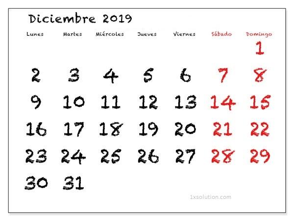 Calendario Diciembre 2019 Argentina