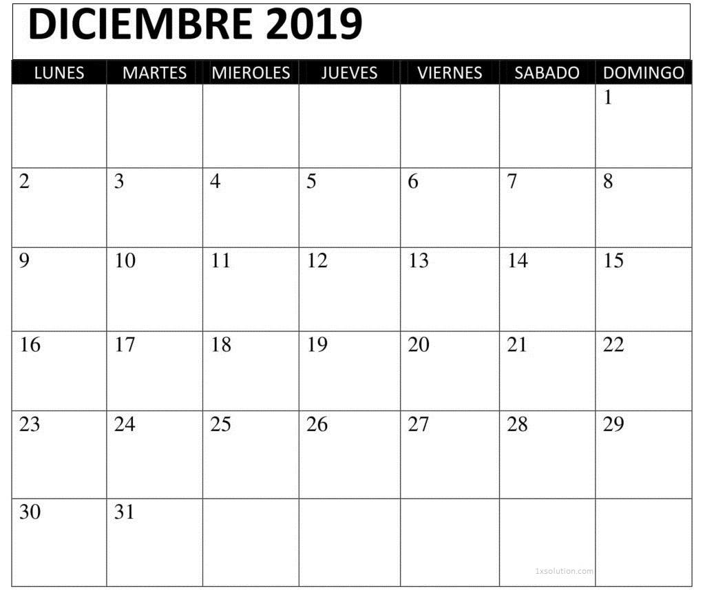 Calendario Diciembre 2019 Chile Con Notas