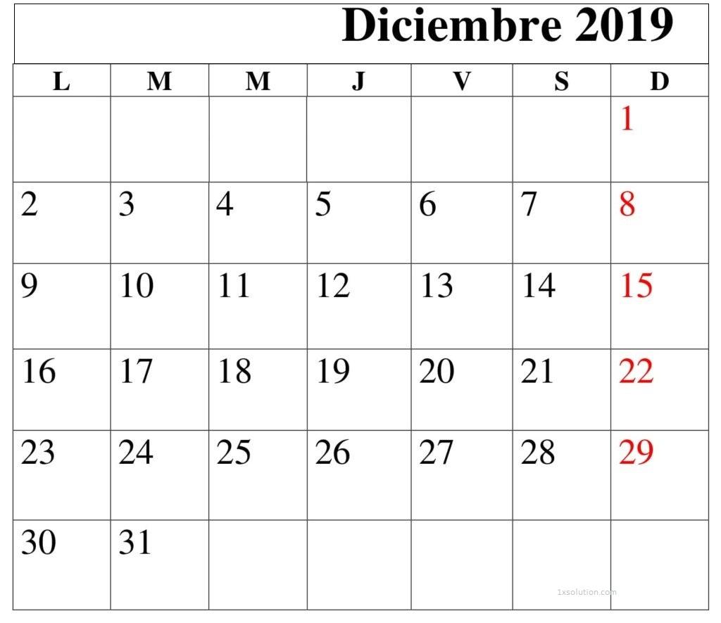 Calendario Diciembre 2019 Chile Mes