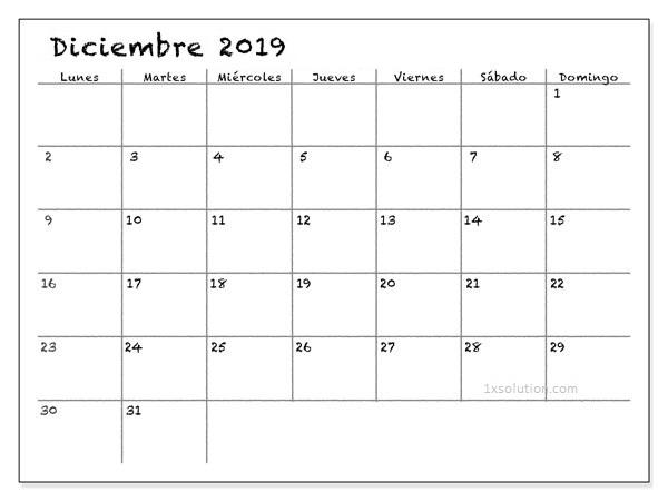 Calendario Diciembre 2019 Para Imprimir Cuadro