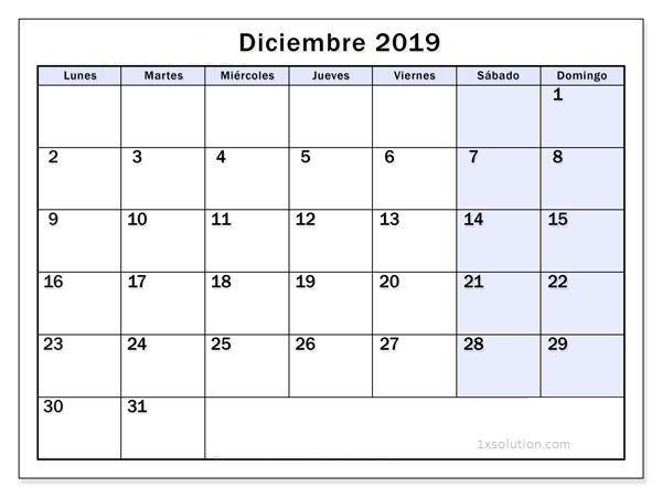 Calendario Diciembre 2019 Para Imprimir Diseno