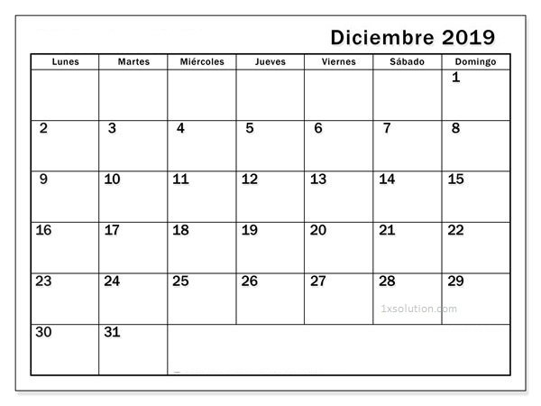 Calendario Diciembre 2019 Para Imprimir PDF