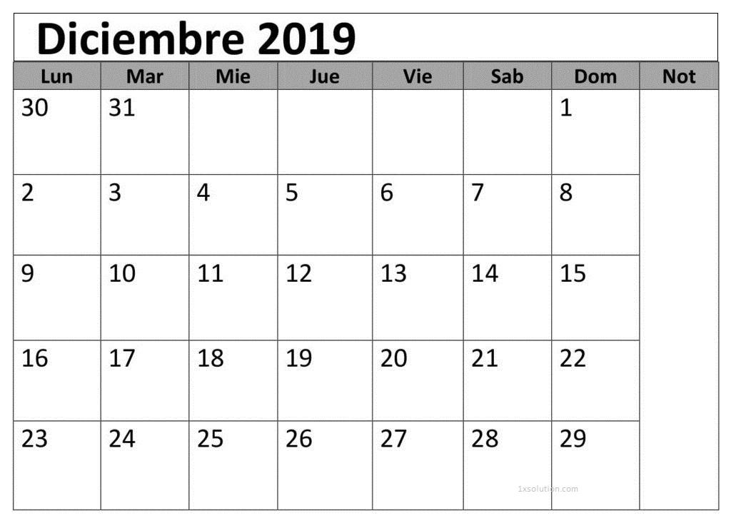 Calendario Diciembre 2019 Para Imprimir Planificador