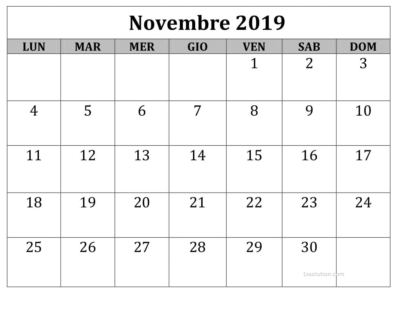 Calendario Novembre 2019 Da Stampare Mensile
