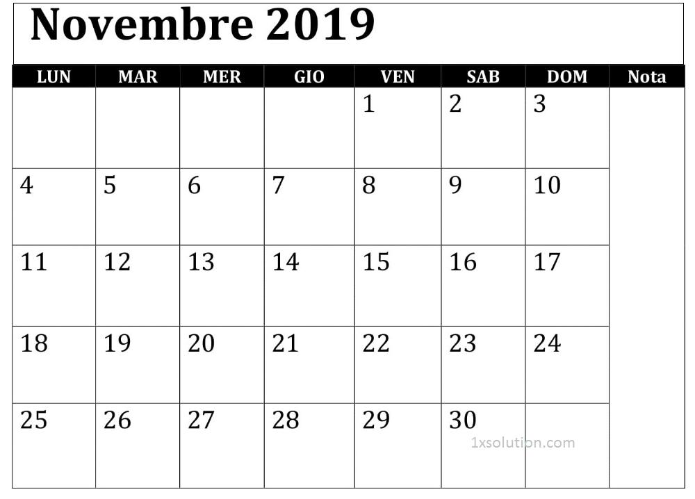 Calendario Novembre 2019 Da Stampare Modello
