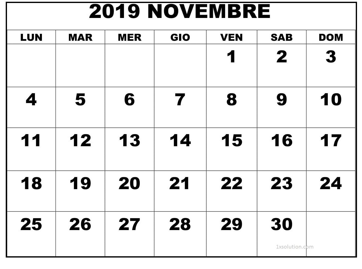 Calendario Novembre 2019 Da Stampare