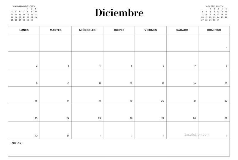 Cuadro Calendario Diciembre 2019 Chile