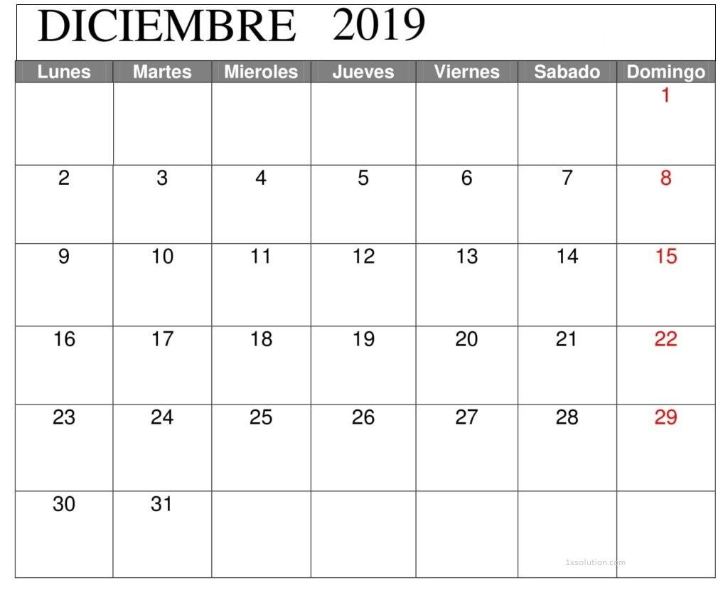 Diciembre 2019 Calendario Argentina