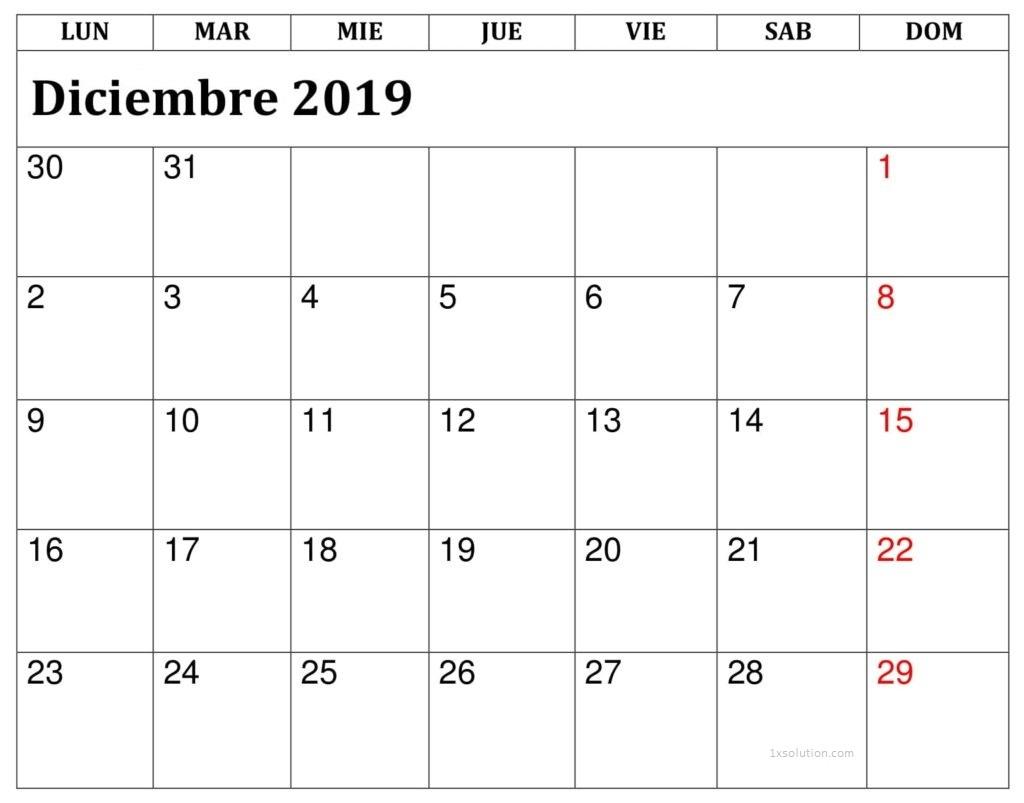 Diciembre 2019 Calendario Para Imprimir