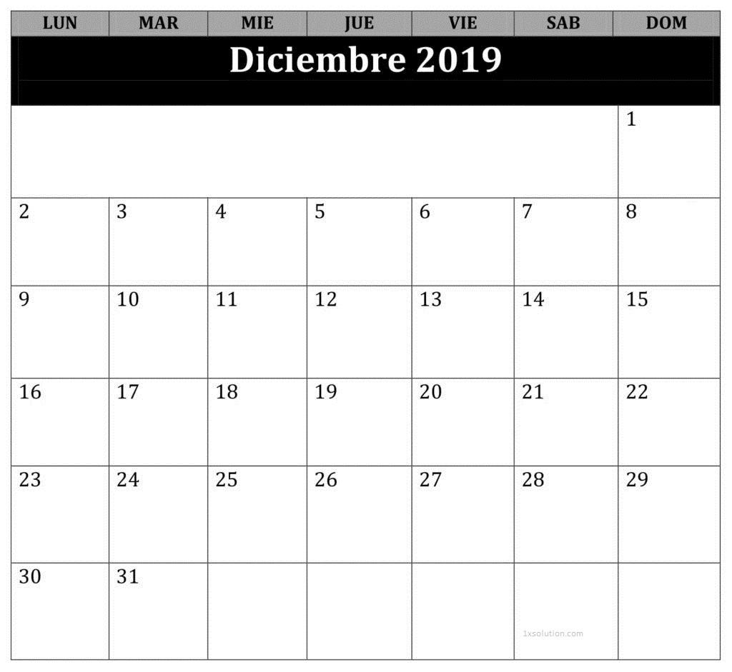 Diciembre Calendario 2019 Argentina
