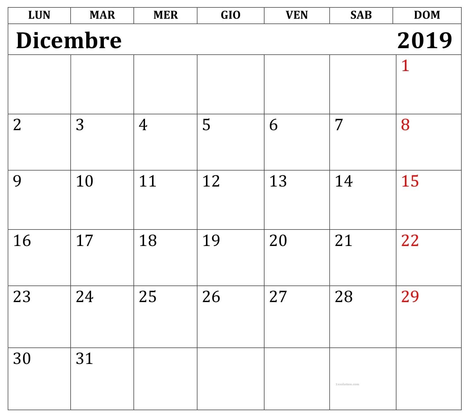 Gratuito Calendario Dicembre 2019 PDF