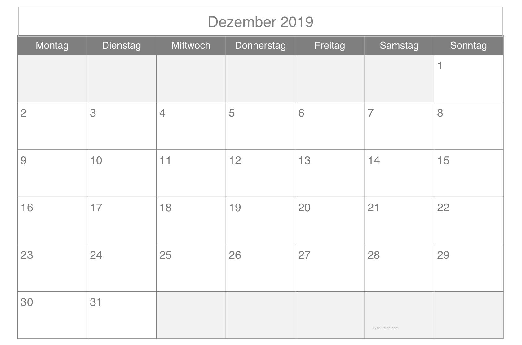 Kalender 2019 Dezember Notizen