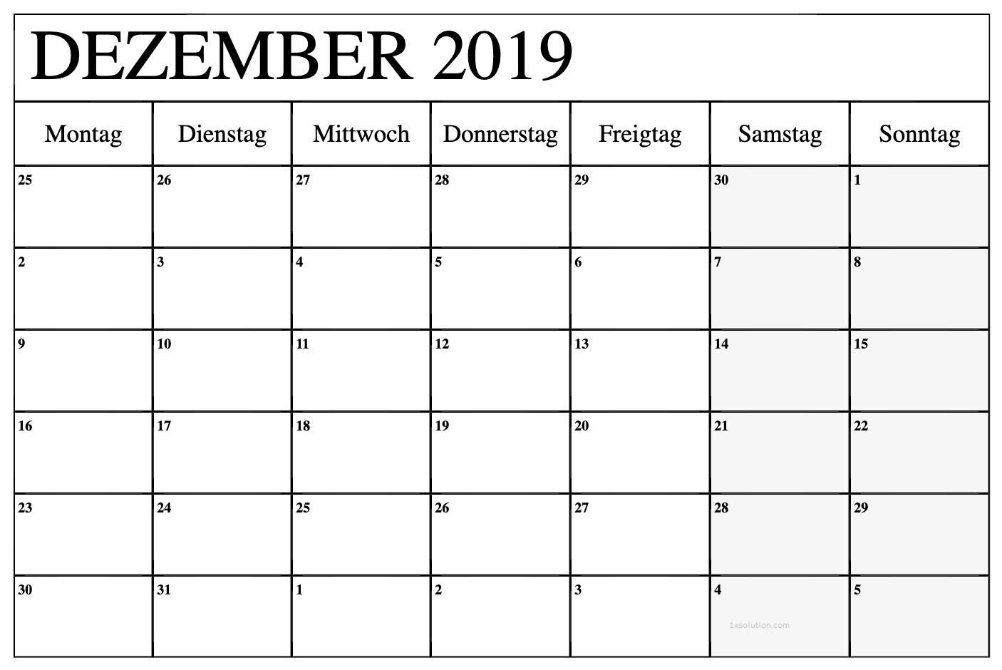 Kalender 2019 Dezember PDF