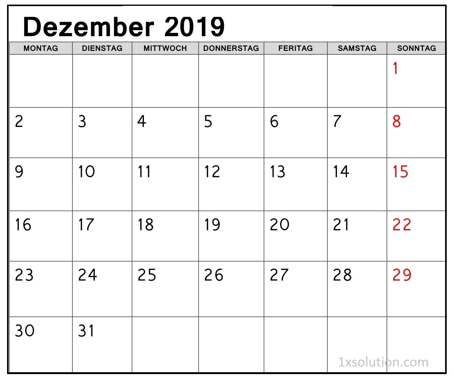 Kalender Dezember 2019 Zum Ausdrucken Akademisch