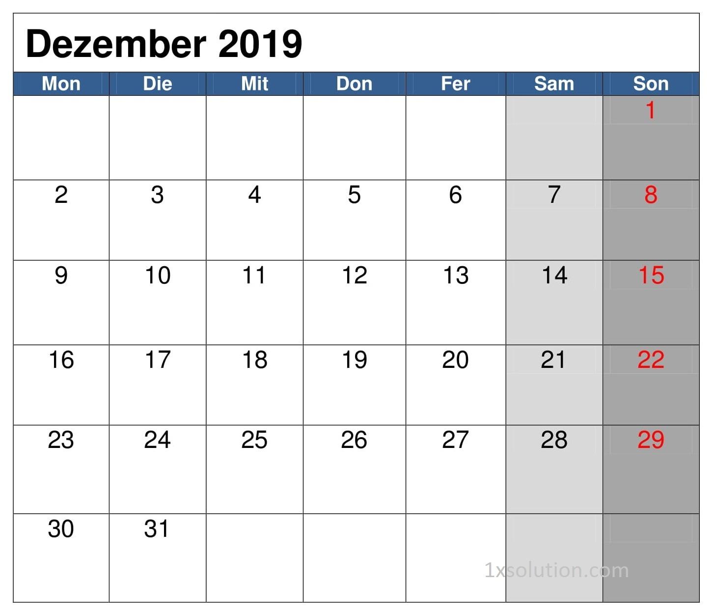 Kalender Dezember 2019 Zum Ausdrucken Blatt