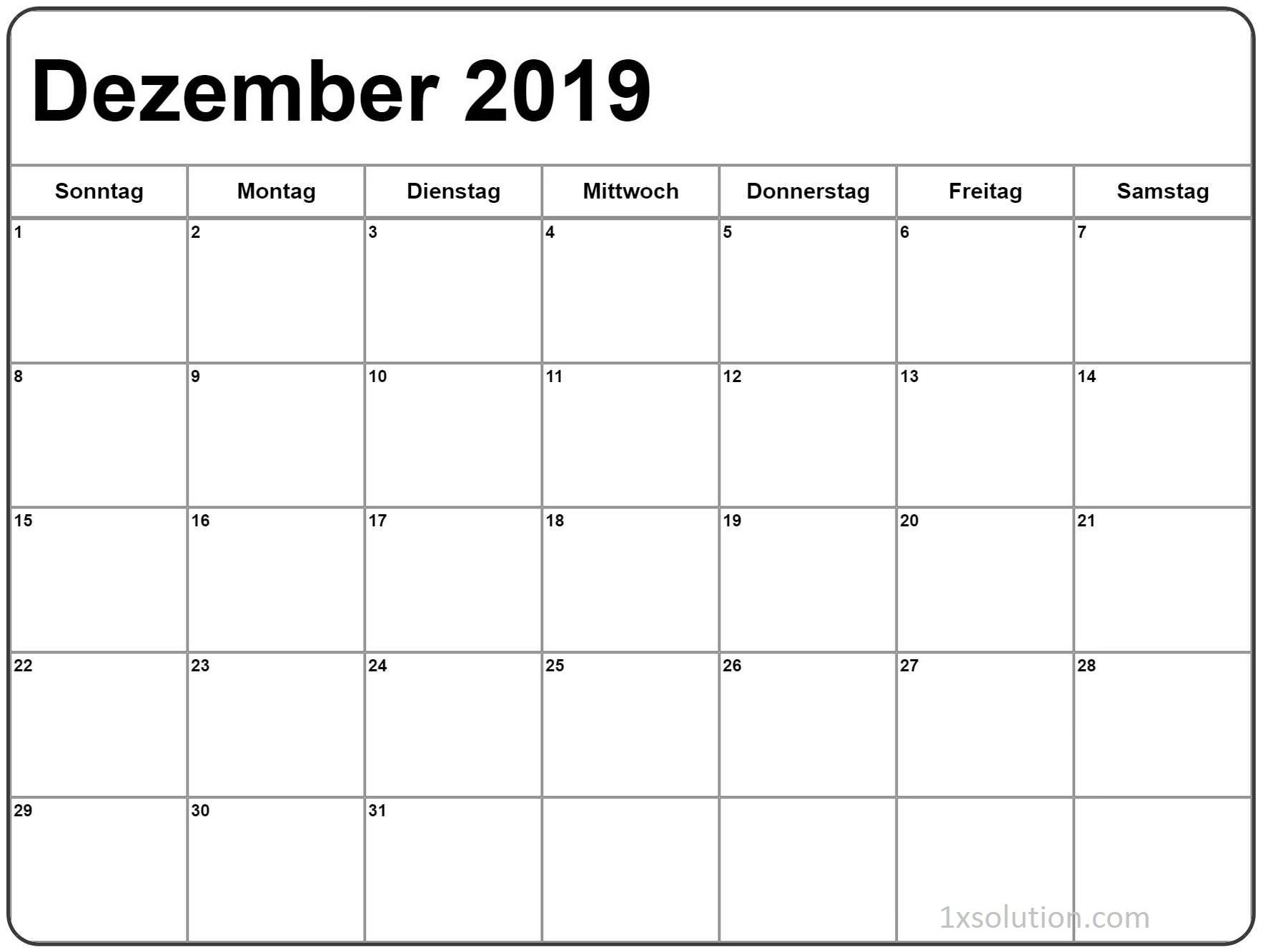 Kalender Dezember 2019 Zum Ausdrucken