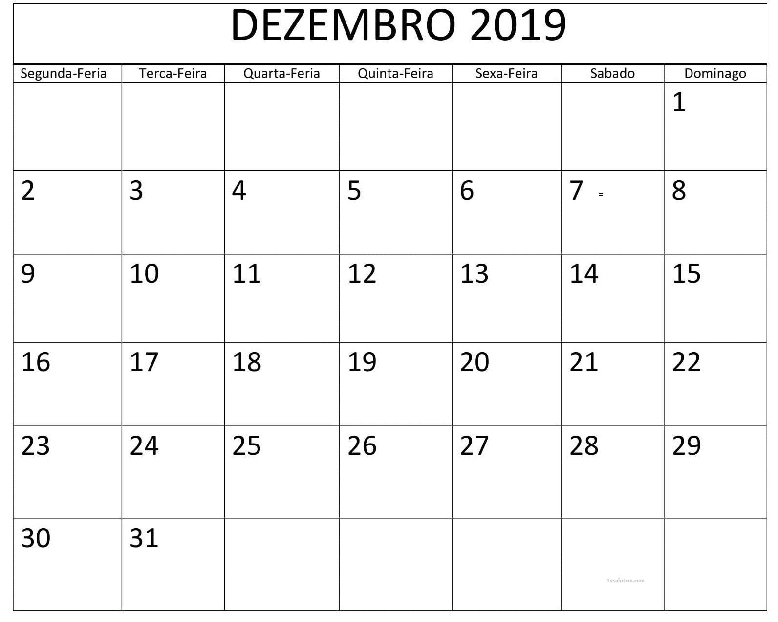 Mesa Calendário Dezembro 2019 Imprimir
