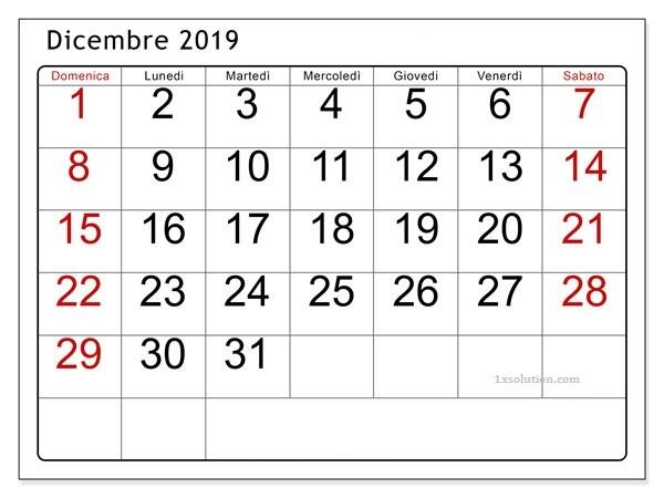 Stampabile Calendario 2019 Dicembre