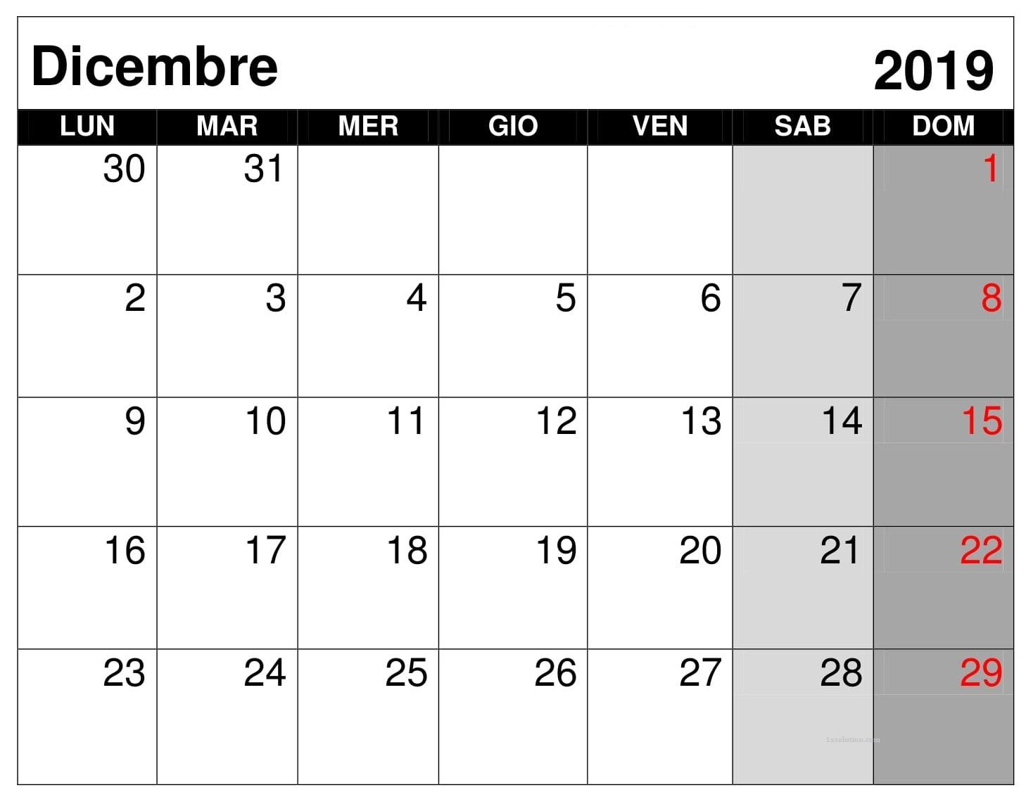 Stili Calendario Dicembre 2019 PDF