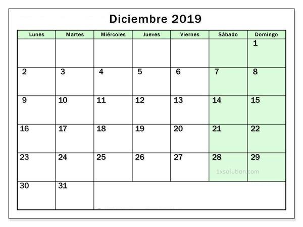 Word Calendario Diciembre 2019 Para Imprimir