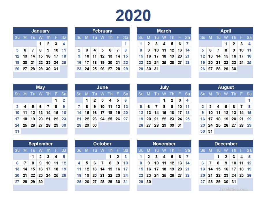 2020 Calendar PDF