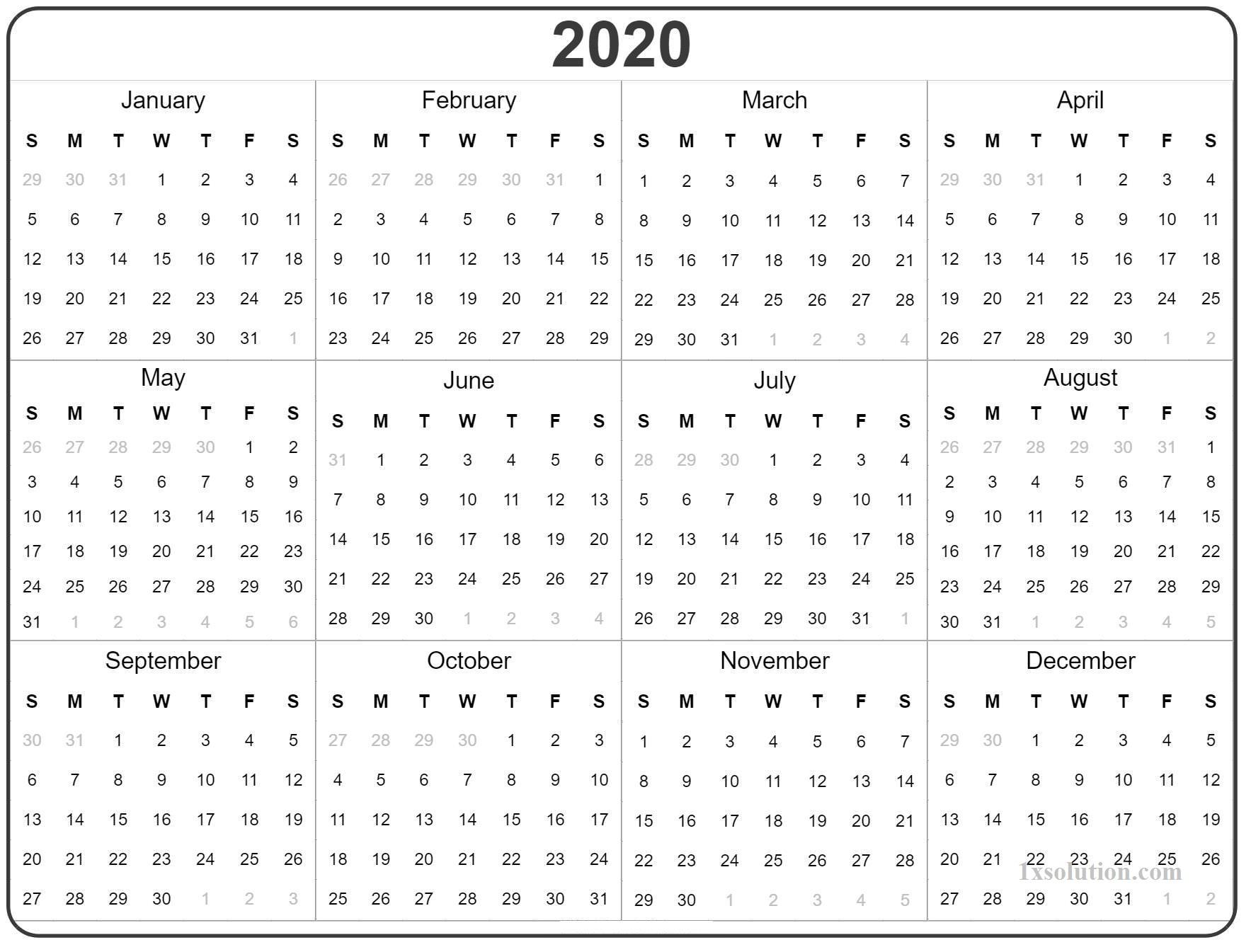 2020 Calendar Yearly