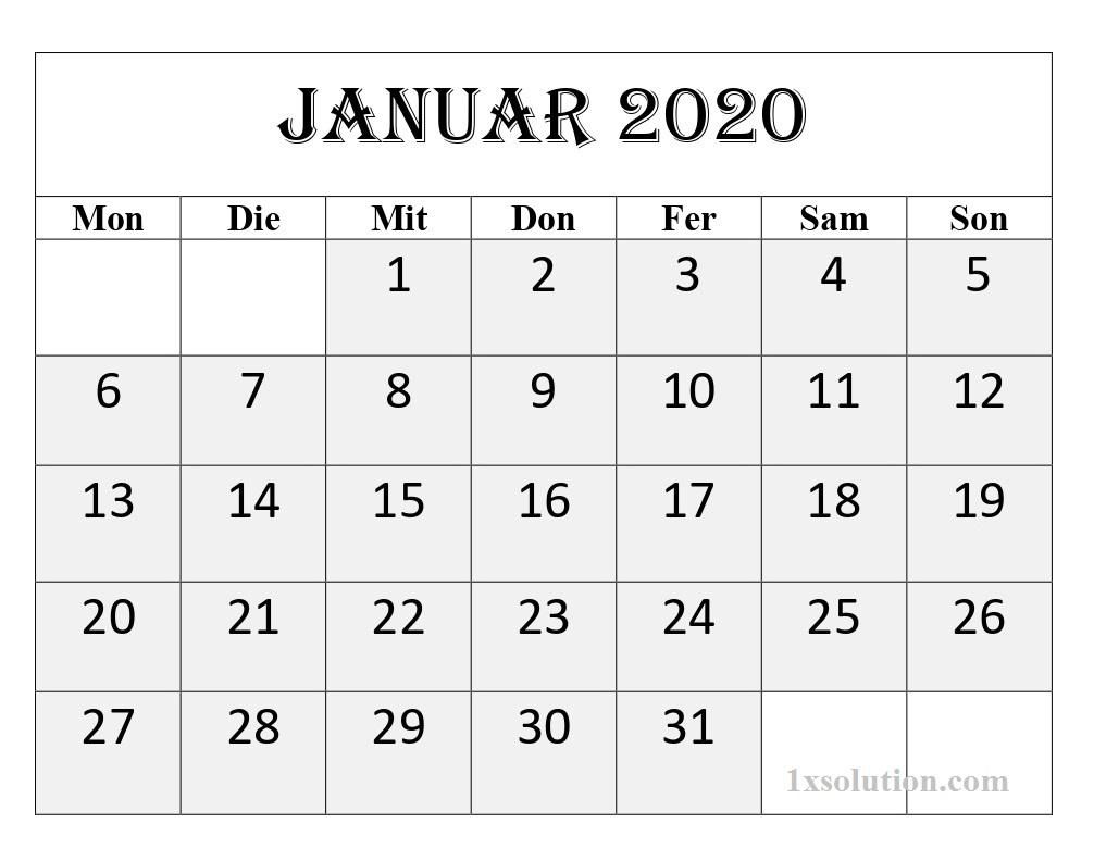 2020 Januar Kalender