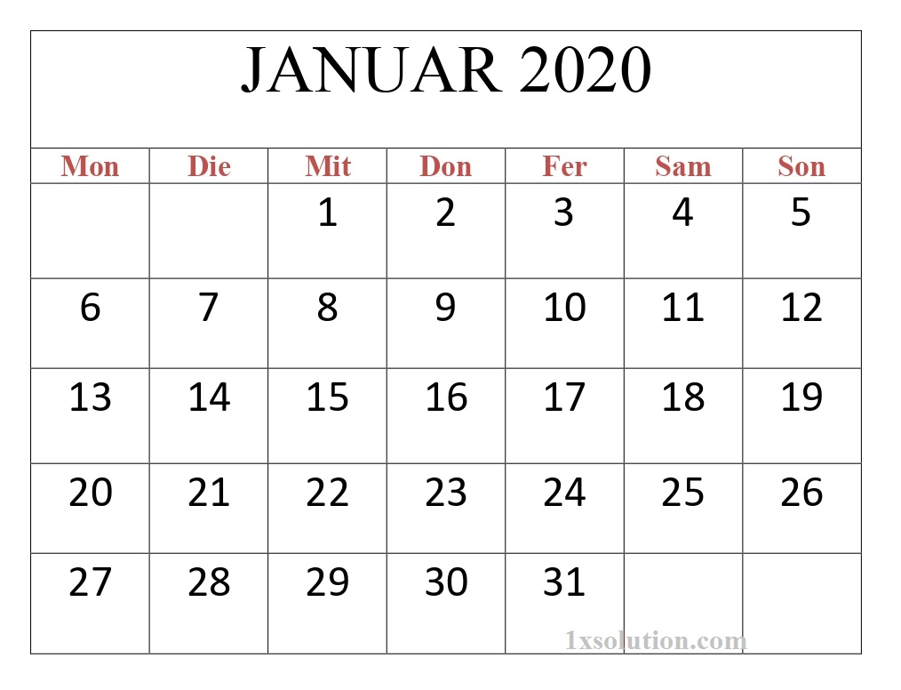 2020 Kalender Januar