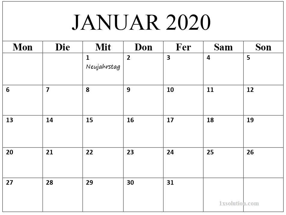 2020 Kalender Januar Mit Feiertagen