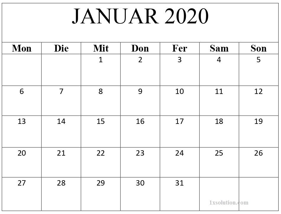 2020 Kalender Januar Zum Ausdrucken
