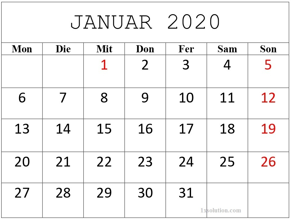 Anpassen Kalender Januar 2020 Mit Feiertagen