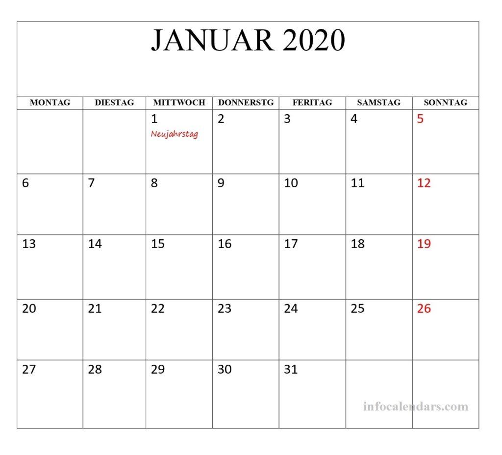 Bild Kalender Januar 2020 Mit Feiertagen