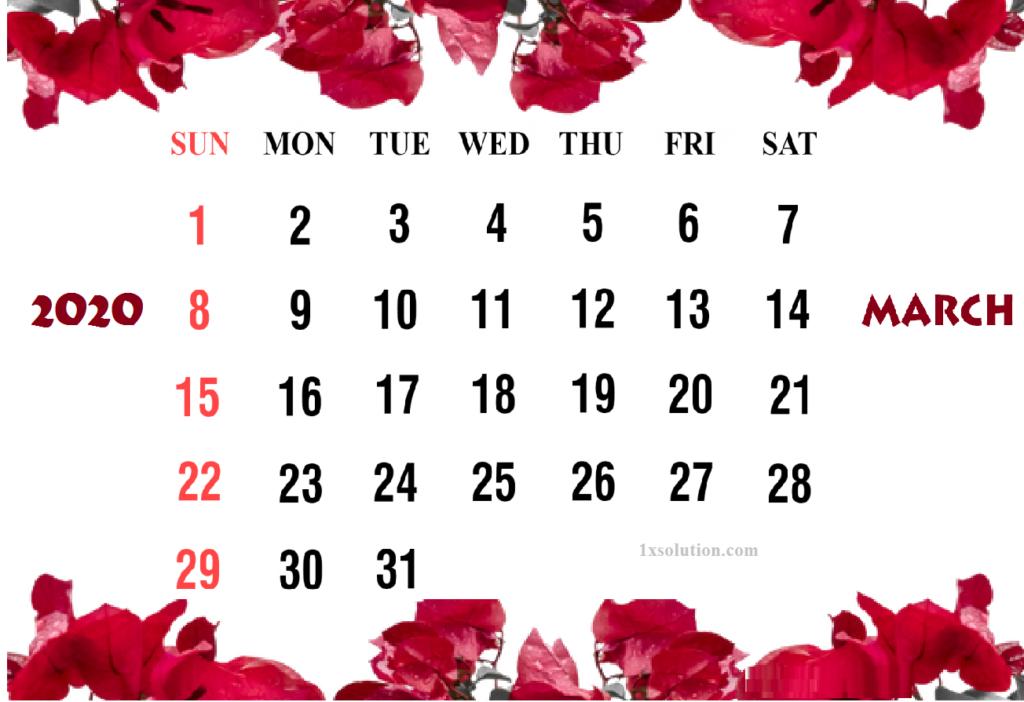 Calendar Cute March 2020