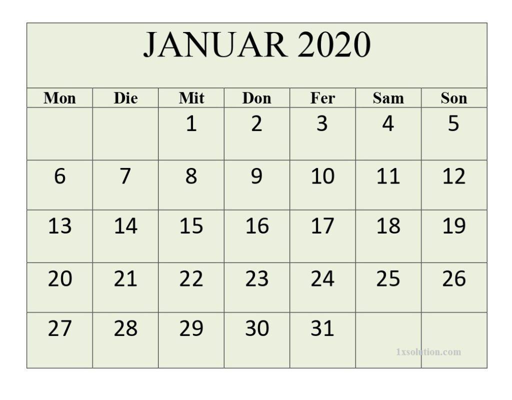 Januar 2020 Kalender