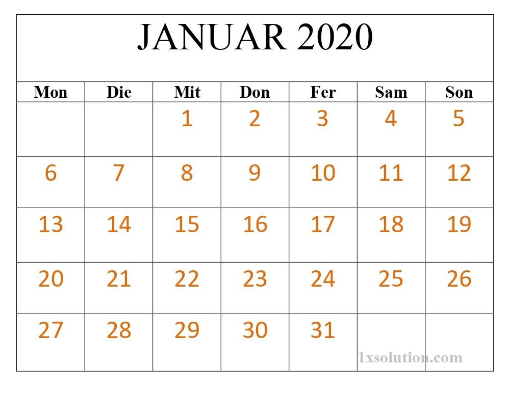 Kalender 2020 Januar Drucken