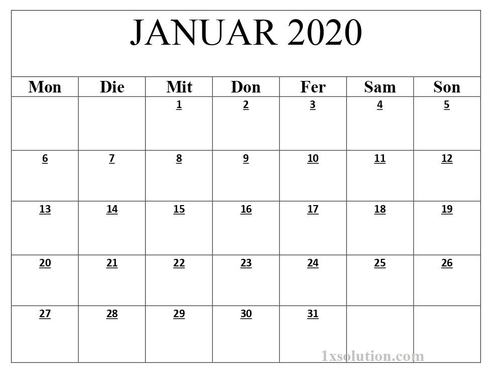 Kalender 2020 Januar Excel