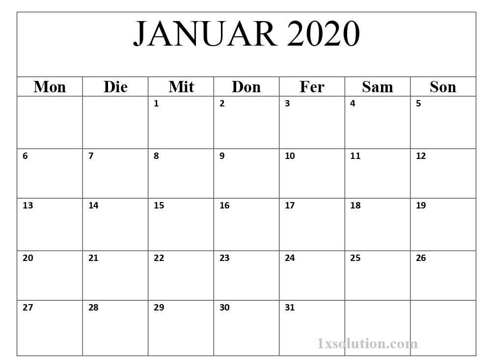 Kalender 2020 Januar PDF