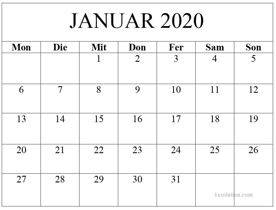 Kalender 2020 Januar Zum Ausdrucken