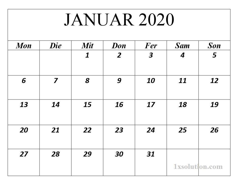 Kalender 2020 Januar