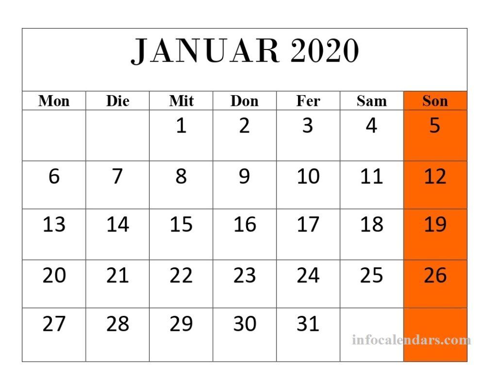 Kalender Januar 2020 Mit Feiertagen Leer