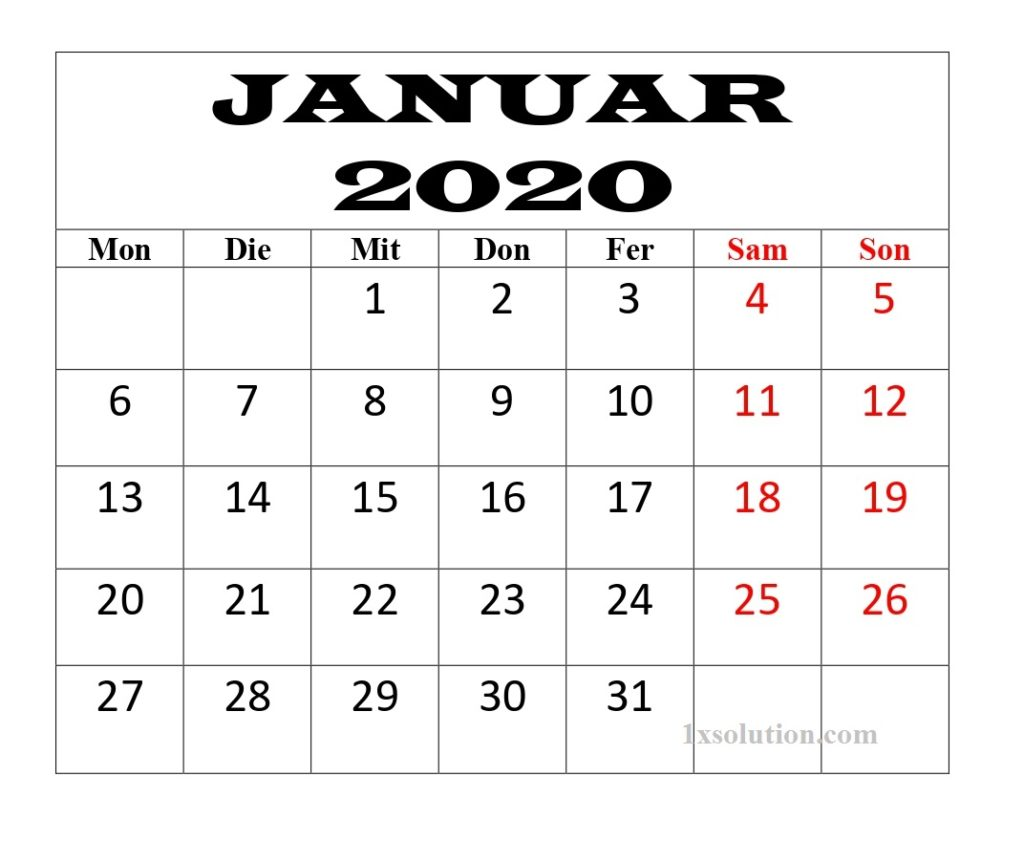 Kalender Januar 2020 Mit Feiertagen