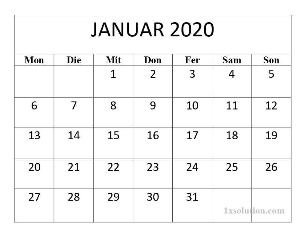 Kalender Januar 2020