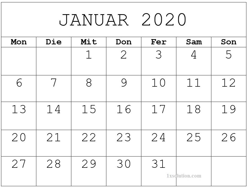 Kalender Januar 2020 Zum Ausdrucken Anpassen