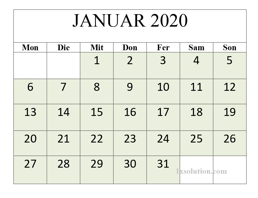 monatskalender ausdrucken