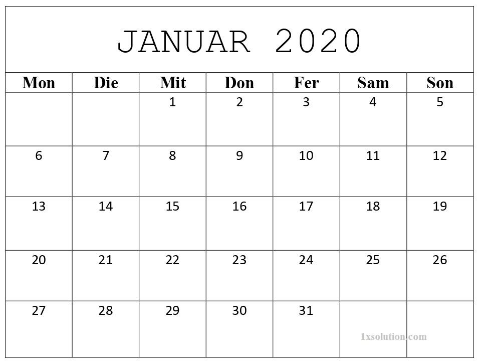 Kalender Januar 2020 Zum Ausdrucken Zeitplan