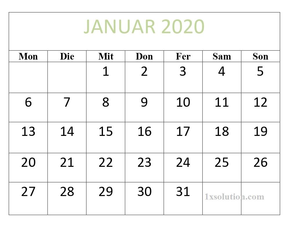 Monatlich Kalender Januar 2020